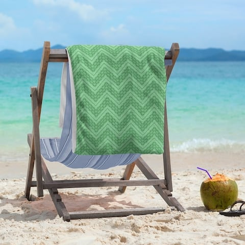 Reverse Monochromatic Hand Drawn Chevrons Beach Towel - 36 x 72