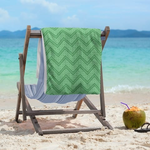 Monochromatic Hand Drawn Chevron Pattern Beach Towel - 36 x 72