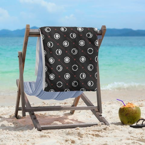 Black Color Accent Moon Phases Beach Towel - 36 x 72