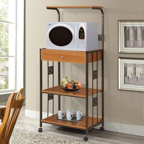 Metal Cherry-finish Kitchen Organization Microwave Cabinet
