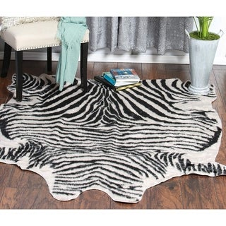 "Zebra Pattern Beige and Black Soft Faux Cow Hide Area Rug - 5' x 6'6"""