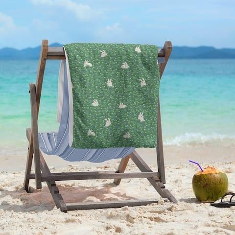 Porch & Den Alvada Bunny Rabbit Pattern Beach Towel - 36 x 72