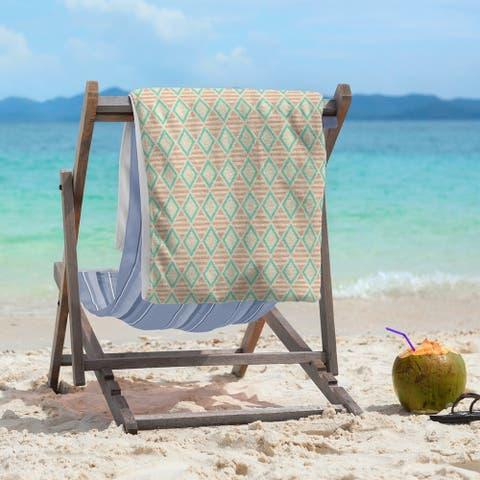 Full Color Geometric Diamonds Beach Towel - 36 x 72