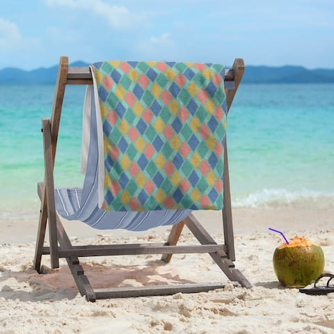 Retro Diamonds Beach Towel - 36 x 72
