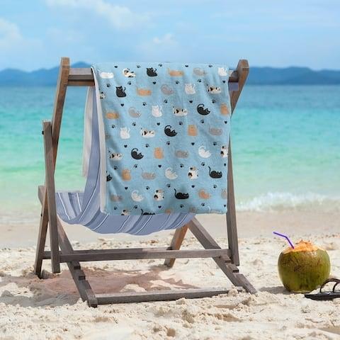 Porch & Den Alsace Cat Pattern Beach Towel - 36 x 72