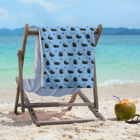 Porch & Den Alsace Cat Pattern Beach Towel - 36 x 72