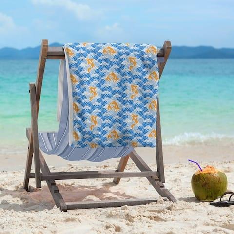 Porch & Den Aloma Koi Fish & Waves Beach Towel - 36 x 72