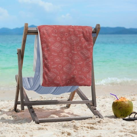 Color Background Pizza Pattern Beach Towel - 36 x 72