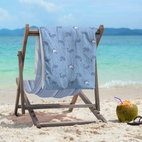 Porch & Den Gassner Whales Pattern Beach Towel - 36 x 72