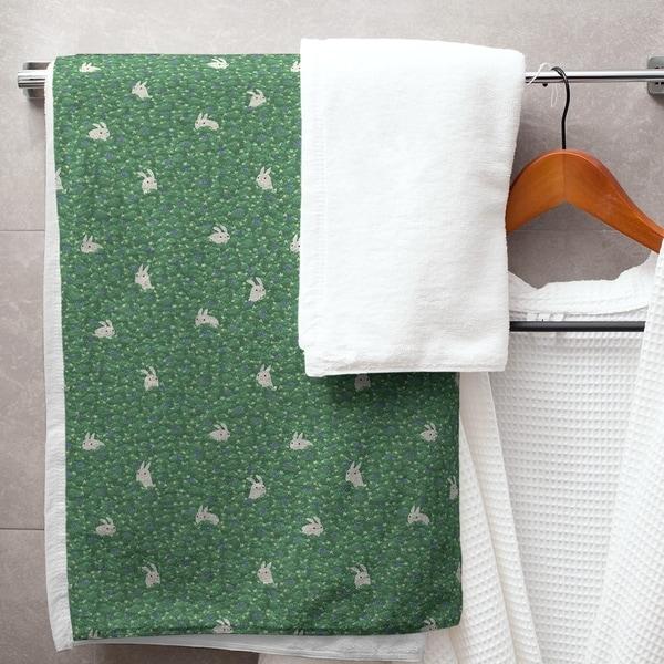 Porch & Den Alvada Bunny Rabbit Pattern Bath Towel - 30 x 60