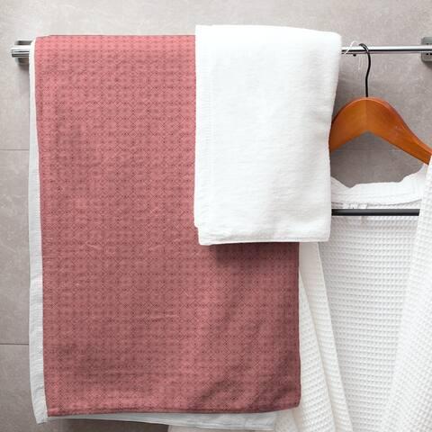 Monochrome Doily Pattern Bath Towel - 30 x 60