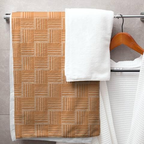 Monochrome Basketweave Stripes Bath Towel - 30 x 60