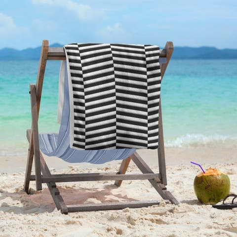 Two Color Fractured Stripes Beach Towel - 36 x 72