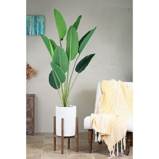 Mid-Century Modern Wood Stand with Tall Cylinder White Ceramic Planter