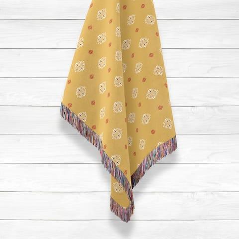 Indian Buttons Luxury Cotton Woven Throw by Amrita Sen