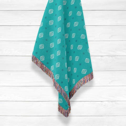 Indian Buttons Luxury Cotton Woven Throw by Amrita Sen