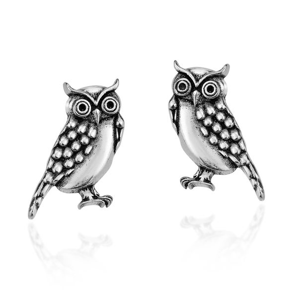 Girls Owl Colorful Ear Studs 925 Sterling Silver