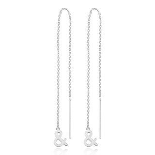 Handmade Trendy Icons Ampersand Sterling Silver Slide-Through Dangle Earrings  (Thailand)