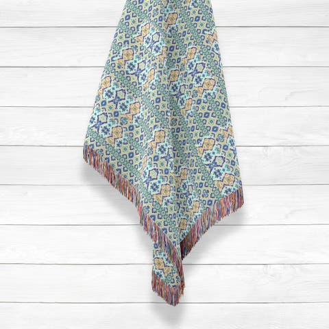Opal Cross Vertical Diamond Flower Luxury Cotton Woven Throw by Amrita Sen