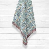 Opal Cross Vertical Diamond Flower Luxury Cotton Woven Throw by Amrita Sen