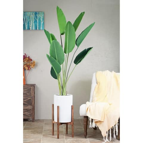 "Mid-Century Modern Tall Cylinder White Ceramic Planter 10"" with Wood Stand Honey Color"