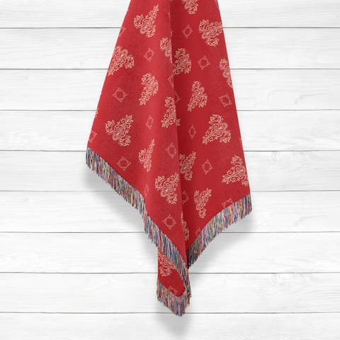 Triangle Paisley Henna Luxury Cotton Woven Throw by Amrita Sen