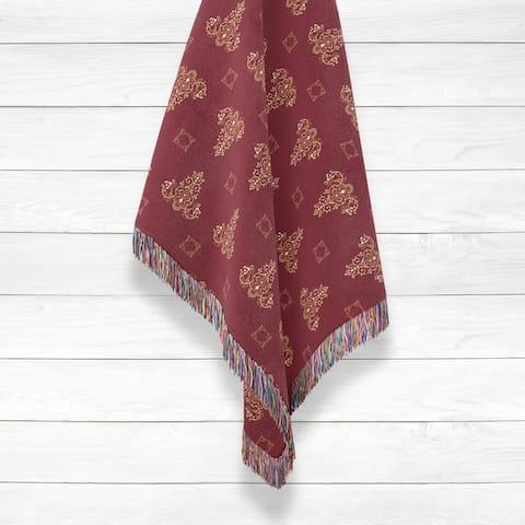 Triangle Paisley Henna Luxury Cotton Woven Throw by Amrita Sen