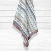 Morning Rise with Animal and Strips Luxury Cotton Woven Throw by Amrita Sen