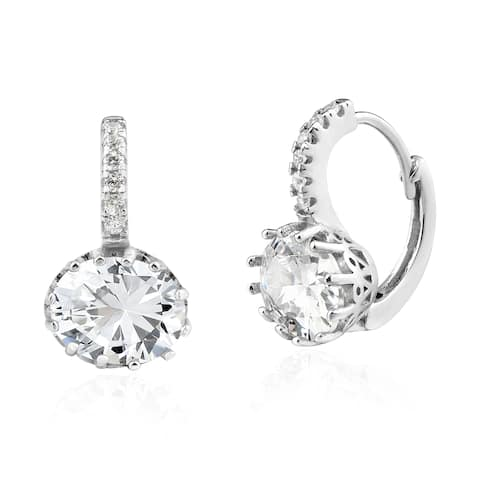 Handmade Dazzling Round Clear Cubic Zirconia and Sterling Silver Lever Back Earrings (Thailand)