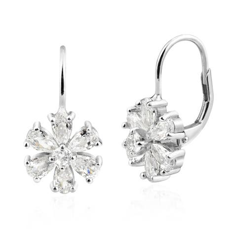 Handmade Sparkling Flower Clear Cubic Zirconia and Sterling Silver Lever Back Earrings (Thailand)
