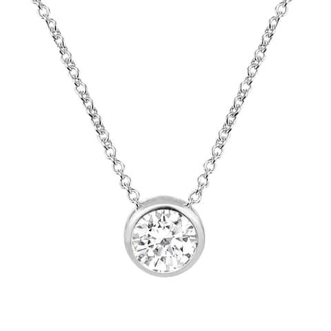 Handmade Sparkling Crystal Set on Sterling Silver Pendant Necklace (Thailand)
