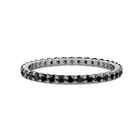 TriJewels Black Diamond Common Prong Eternity Ring 0.88 ctw 14KW Gold