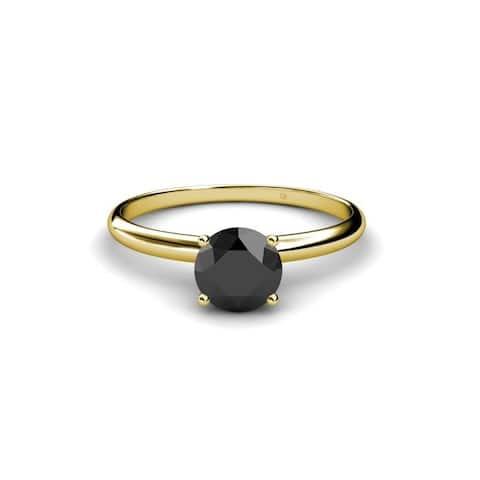 TriJewels Black Diamond Solitaire Ring 3.00 Carat 14KY Gold