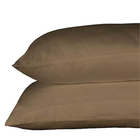 500 Thread Count 100% Egyptian Quality Cotton Sateen, Solid Sepia, Pack Of 4 Queen Pillow Cases