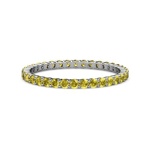 TriJewels Yellow Diamond Common Prong Eternity Ring 0.84 ctw 14KW Gold