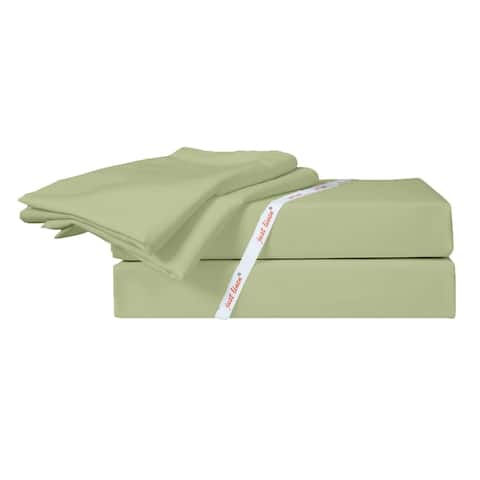 300 TC 100% Cotton Sateen, Solid Lint, Queen Bedding 4 Piece Sheet Set with Deep Pocketed Fitted Sheets