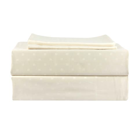 500 TC 100% Egyptian Quality Cotton,Genuine Damask, Solid Birch ,California King Bedding 4 Piece with Deep Pocketed Fitted Sheet