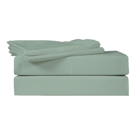 400 TC 100% Egyptian Quality Cotton Sateen, Solid Iceberg Green, Full Bedding 4 Piece Sheet Set with Deep Pocketed Fitted Sheets