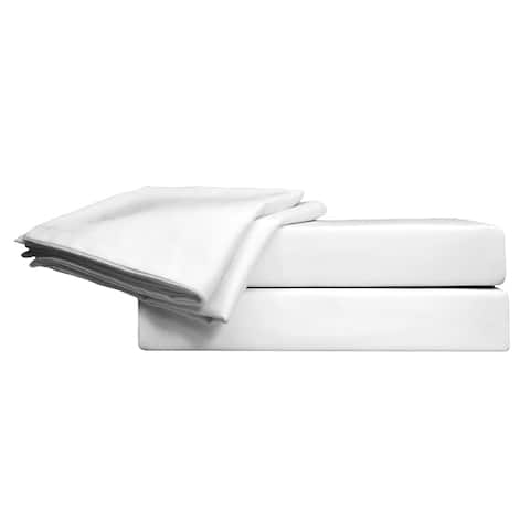 800 TC 100% Egyptian Quality Cotton Sateen, Solid White, California King Bedding 4 Piece with Deep Pocketed Fitted Sheets