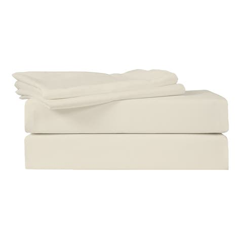 500 TC 100% Egyptian Quality Cotton Sateen, Solid Birch, King Bedding 4 Piece Sheet Set with Deep Pocketed Fitted Sheets