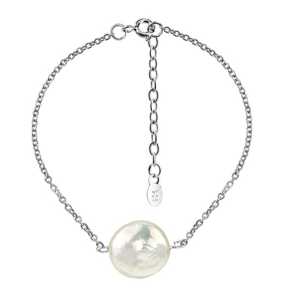 Handmade Stunning Shimmering Coin Pearl on a Sterling Silver Cable Chain Bracelet (Thailand). Opens flyout.