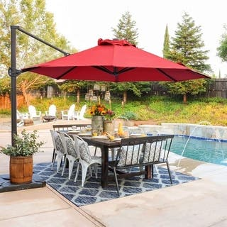 11ft Offset Cantilever Umbrella Patio Hanging Umbrella with Cross Base, Dark Red