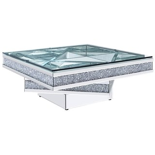 Wood and Mirror Coffee Table with Tier Design, Clear