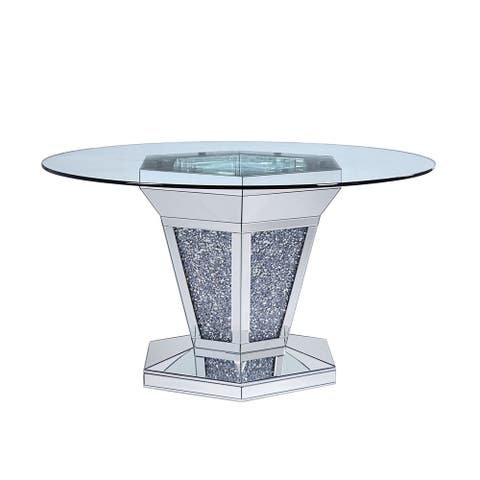 Faux Crystals and Mirror Inlaid Wooden Dining Table with Pedestal Base, Silver and Clear