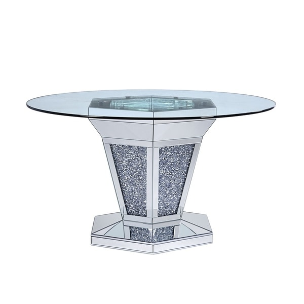 Faux Crystals and Mirror Inlaid Wooden Dining Table with Pedestal Base, Silver and Clear. Opens flyout.