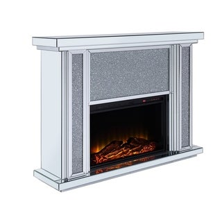 Wood and Mirror Electric Fireplace with Faux Crystal Dusted Face, Clear