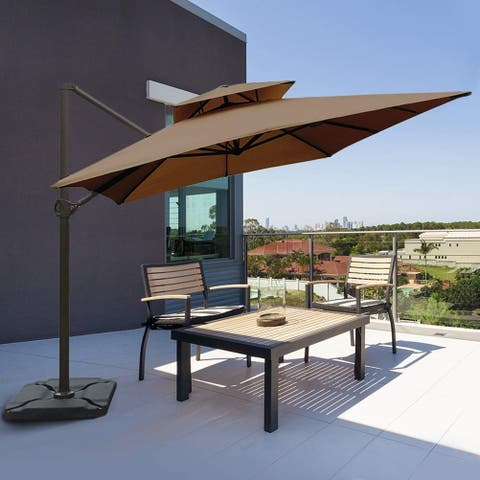 9ft x 12ft Rectangular Offset Cantilever Umbrella Dual Wind Vent Patio Hanging Umbrella with Cross Base, Cocoa