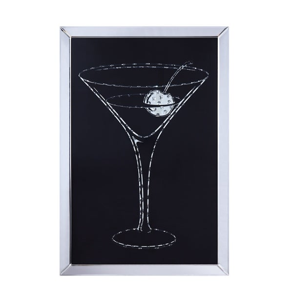 Wood and Mirror Martini Glass Wall Art, Clear and Black