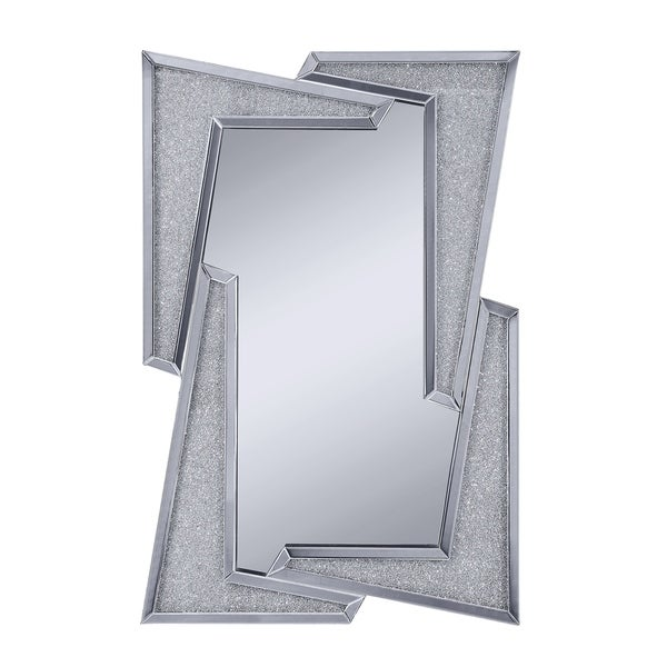 Mirrored Wooden Frame Accent Wall Decor with Four L Shaped Borders, Clear