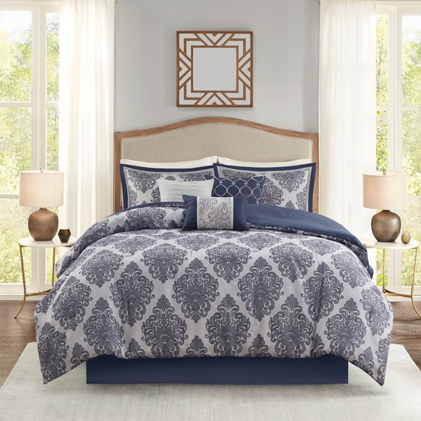 Luxury 7-Piece Navy Silver Jacquard Medallion Floral Comforter Set